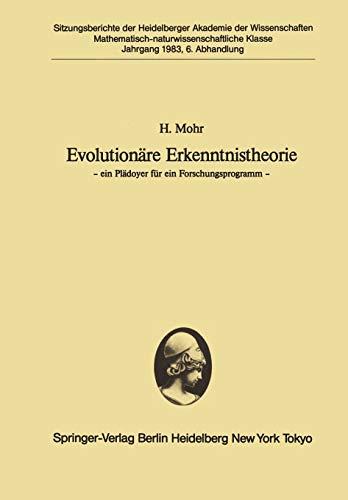 9783540131205: Evolutionäre Erkenntnistheorie: ― ein Plädoyer für ein Forschungsprogramm ― (Sitzungsberichte der Heidelberger Akademie der Wissenschaften) (German Edition)