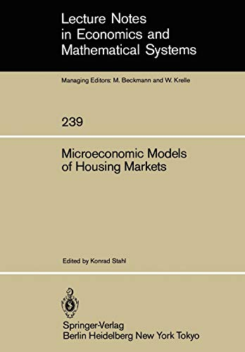 Microeconomic Models of Housing Markets (Lecture Notes
