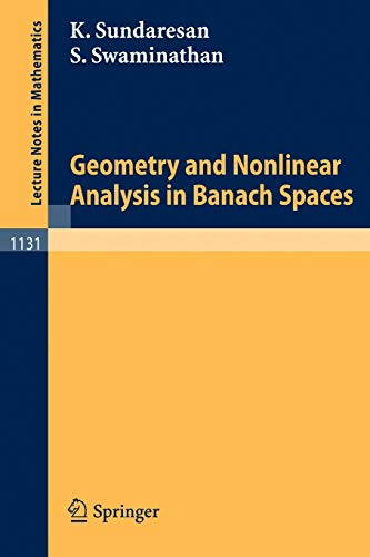 9783540152378: Geometry and Nonlinear Analysis in Banach Spaces (Lecture Notes in Mathematics)