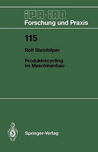 9783540188490: Produktrecycling Im Maschinenbau (IPA-IAO - Forschung und Praxis)