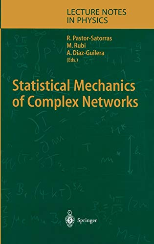 9783540403722: Statistical Mechanics of Complex Networks (Lecture Notes in Physics)