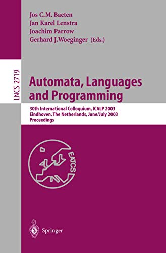 Automata, Languages and Programming: 30th International Colloquium,