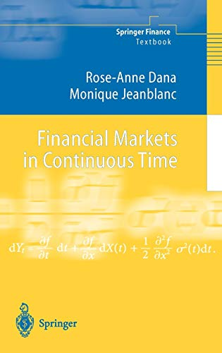9783540434030: Financial Markets in Continuous Time