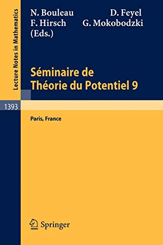 9783540515920: Séminaire de Théorie du Potentiel Paris, No. 9 (Lecture Notes in Mathematics) (French and English Edition)