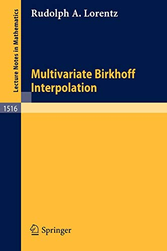 9783540558705: Multivariate Birkhoff Interpolation (Lecture Notes in Mathematics)