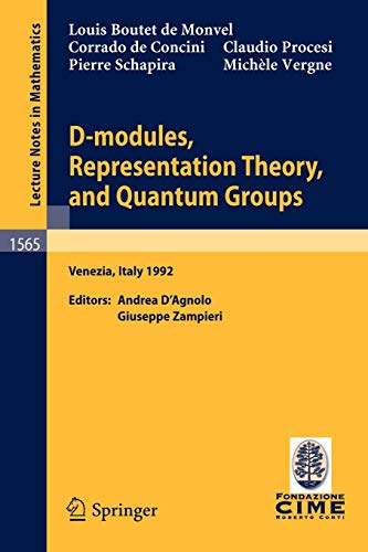 9783540574989: D-modules, Representation Theory, and Quantum Groups: Lectures given at the 2nd Session of the Centro Internazionale Matematico Estivo (C.I.M.E.) held ... 12-20, 1992 (Lecture Notes in Mathematics)