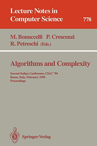 Algorithms and Complexity: Second Italian Conference, CIAC