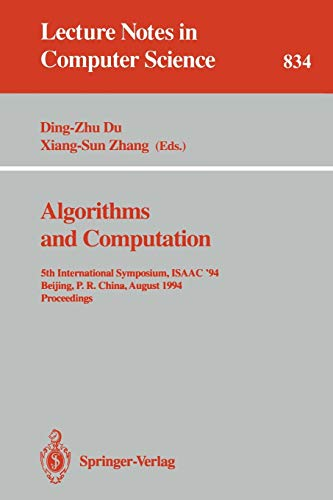 Algorithms and Computation: 5th International Symposium, Isaac 94, Beijing, P.R. China, August 25 -...