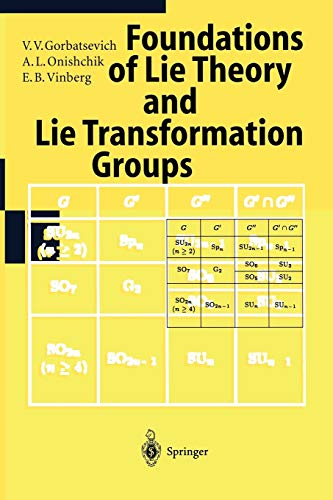 Lie Groups and Lie Algebras I: Foundations Of Lie Theory Lie Transformation Groups (Encyclopaedia of Mathematical Sciences) - V.V. Gorbatsevich