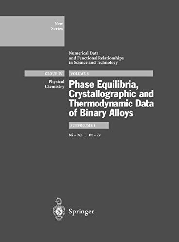 9783540617129: Ni-Np ... Pt-Zr: Phase Equilibria, Crystallographic Data and Values of Thermodynamic Properties of Binary Alloys: Subvolume I: Ni-Np...Pt-Zr Volume 5 ... in Science and Technology - New Series)
