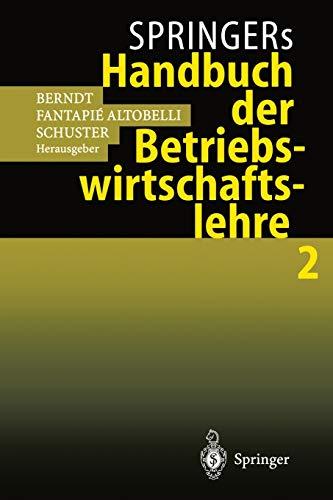 9783540648291: Springers Handbuch der Betriebswirtschaftslehre 2 (German Edition)
