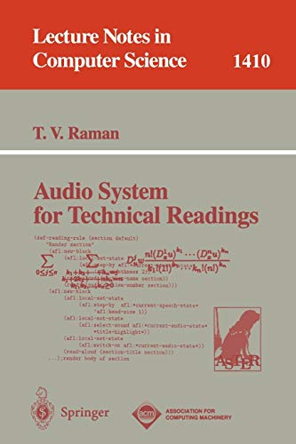 9783540655152: Audio System for Technical Readings (Lecture Notes in Computer Science)