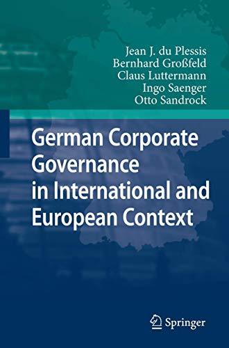 German Corporate Governance in International and European: Jean J. du