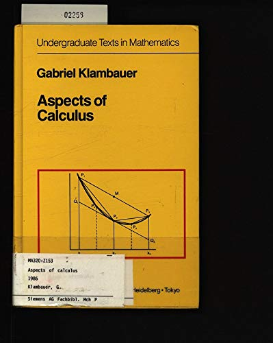 9783540962748: Aspects of Calculus