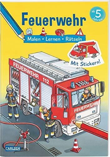 Feuerwehr: Malen Lernen Rätseln: Mit Stickern! (Paperback): Ilka Schröder, Lena