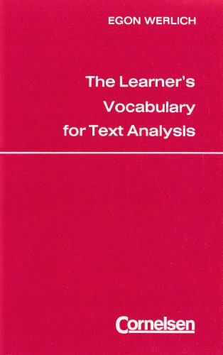 9783559232016: The Learner's Vocabulary for Text Analysis