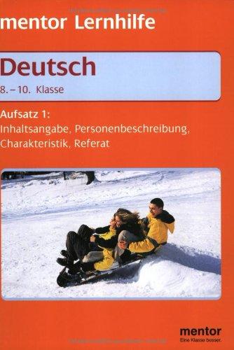 9783580635190 Deutsch Aufsatzschreiben 1 Inhaltsangabe