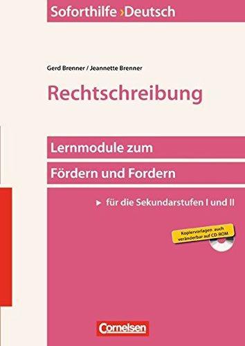9783589233571: Soforthilfe Deutsch Rechtschreibung: Buch und Kopiervorlagen mit CD-ROM