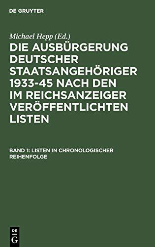 9783598105388: Listen in Chronologischer Reihenfolge / Lists in Chronological Order: 1