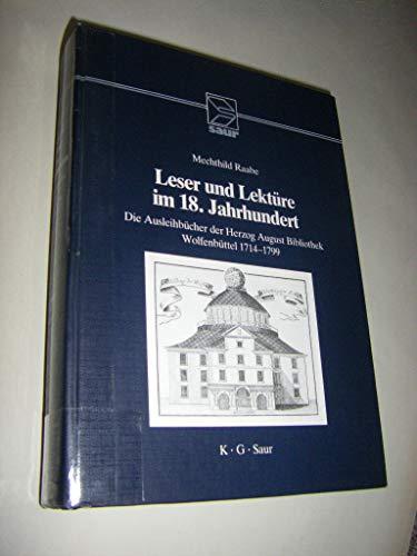 9783598106514: Leser und Lektüre vom 17. zum 19. Jahrhundert: Die Ausleihbücher der Herzog August Bibliothek Wolfenbüttel 1664-1806