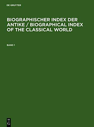 9783598339967: Biographischer Index Der Antike / Biographical Index of the Classical World (German Edition)