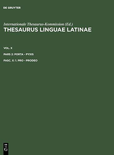 1. Pro - Prodeo (Latin Edition): De Gruyter