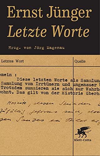 Letzte Worte (9783608939491) by Jünger, Ernst