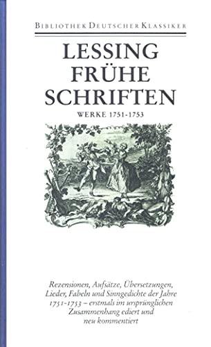 Lessing Werke Und Briefe In 12 Bänden : Werke frühe schriften herausgegeben von
