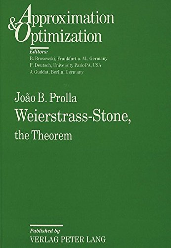 9783631465110: Weierstrass-Stone,: The Theorem (Approximation & Optimization)