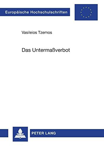 Das Untermaßverbot: Tzemos, Vasileios