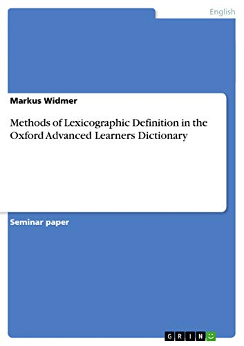 9783638643610: Methods of Lexicographic Definition in the Oxford Advanced Learners Dictionary