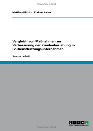 9783638693745: Vergleich von Ma�nahmen zur Verbesserung der Kundenbeziehung in IV-Dienstleistungsunternehmen