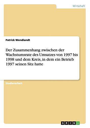 Der Zusammenhang Zwischen Der Wachstumsrate Des Umsatzes Von 1997 Bis 1998 Und Dem Kreis, in Dem ...