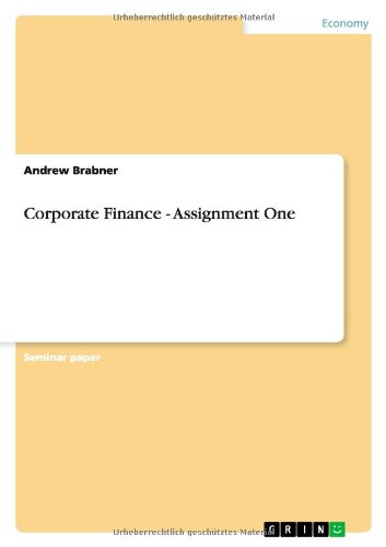 9783638777308: Corporate Finance - Assignment One