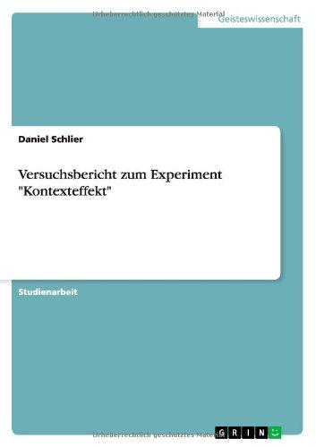 9783638789677: Versuchsbericht zum Experiment