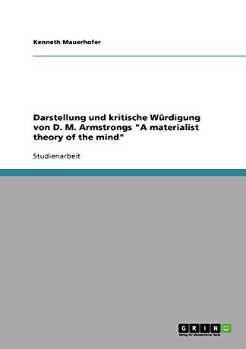 Darstellung Und Kritische Wurdigung Von D. M.: Kenneth Mauerhofer