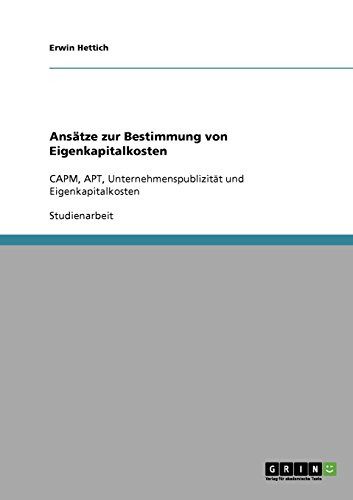 Ansatze Zur Bestimmung Von Eigenkapitalkosten: Erwin Hettich