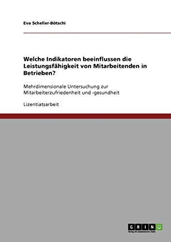 9783638927208: Indikatoren, Die Die Leistungsfahigkeit Von Mitarbeitenden in Betrieben Beeinflussen (German Edition)