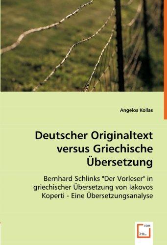 9783639055382: Deutscher Originaltext versus Griechische �bersetzung: Bernhard Schlinks