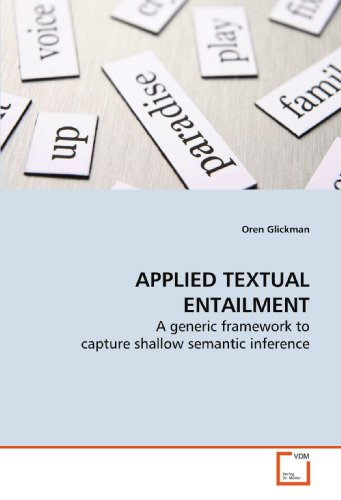 9783639151206: APPLIED TEXTUAL ENTAILMENT: A generic framework to capture shallow semantic inference