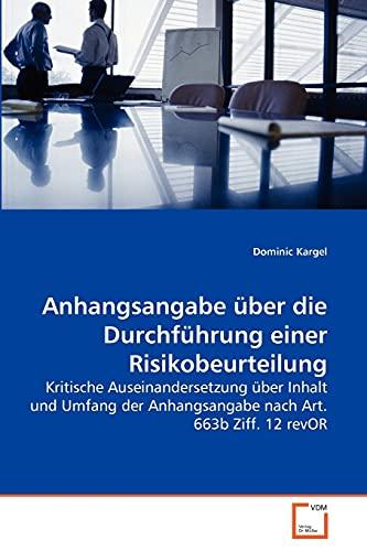 9783639272680: Anhangsangabe �ber die Durchf�hrung einer Risikobeurteilung