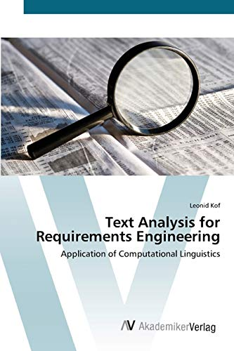 9783639424270: Text Analysis for Requirements Engineering: Application of Computational Linguistics