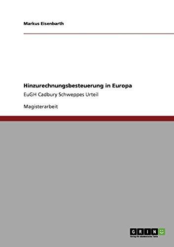 Hinzurechnungsbesteuerung in Europa: Markus Eisenbarth