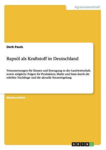 9783640149131: Rapsöl als Kraftstoff in Deutschland