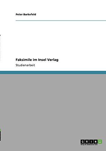 9783640189533: Faksimile im Insel Verlag (German Edition)