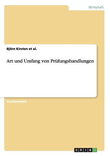Art Und Umfang Von Prufungshandlungen: Bjà rn Kirsten Et Al.