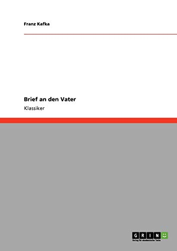 Brief an den Vater (German Edition) (3640231155) by Franz Kafka