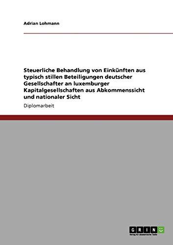 Steuerliche Behandlung Von Einkunften Aus Typisch Stillen Beteiligungen Deutscher Gesellschafter an...