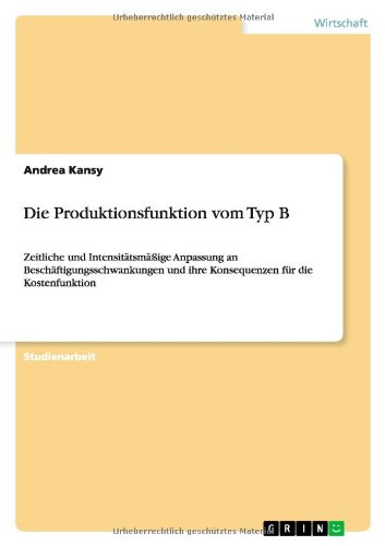 Die Produktionsfunktion vom Typ B: Kansy, Andrea