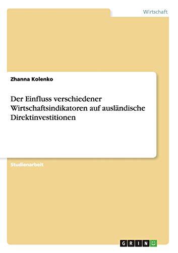 Der Einfluss Verschiedener Wirtschaftsindikatoren Auf Auslandische Direktinvestitionen: Zhanna ...